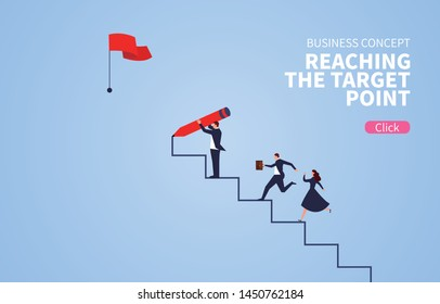 Businessman holding pencil to draw stairs to reach target point