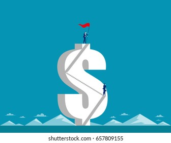 Businessman holding pennant and standing on the top dollar sign. Concept business vector.