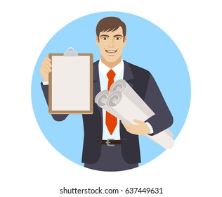 Businessman holding the project plans and clipboard. Portrait of businessman character in a flat style. Vector illustration.