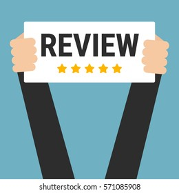 Businessman holding review sign, vector
