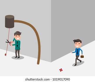 businessman holding scissors intends to cut a rope trap for attack to another business man. The concept of a rival in business. cartoon business concept vector illustration.
