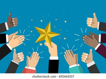 Businessman holding up a star. Business success, achieving the goal concept.  Business teamwork concept. Vector illustration. Flat style design