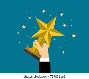 Businessman holding star trophy cup.  Vector illustration in flat style