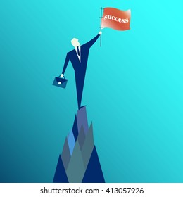 businessman holding a success flag on mountain. Concept business illustration. Vector Illustration. businessman Vector. businessman Symbol. businessman Picture.   Digital businessman Picture
