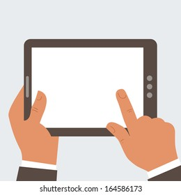 Businessman holding tablet computer with blank screen - free space for your text