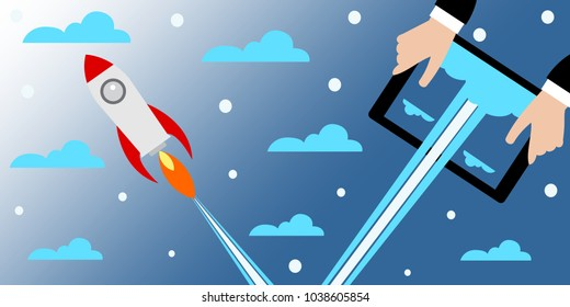 Businessman holding a tablet with a rocket.Concept of Start up. Flat design, vector illustration.