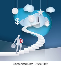 Businessman holding Target rising up the spiral stairs of the Career. Business Concept journey and Development, Creative idea, Future success. first step, Paper art vector and illustration.