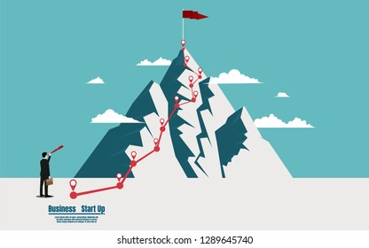 Businessman holding telescope looking a flag on top mountain. Success, leadership, achievement and goal concept. Startup vector illustration flat