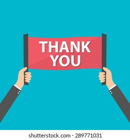 Businessman holding thank you sign, vector
