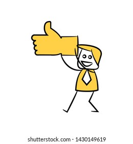 businessman holding thumb up hand yellow stick figure theme