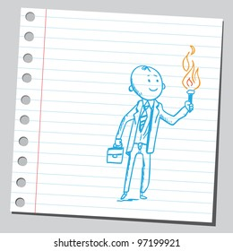 Businessman holding torch