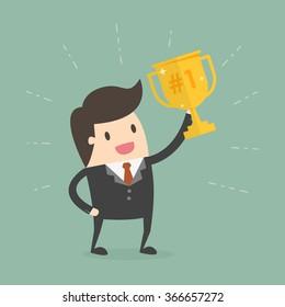 Businessman Holding a Trophy. Business Concept Cartoon Illustration.