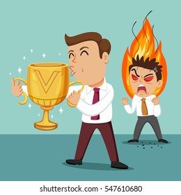 Businessman holding a trophy cup and other man is envious, vector illustration cartoon