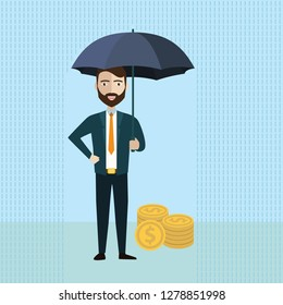 Businessman holding umbrella to protect money. Vector illustration for financial, insurance savings concept.