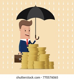 Businessman holding umbrella to protect money. Vector illustration