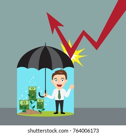 Businessman holding umbrella protecting graph down, illustration vector cartoon