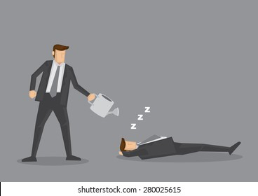 Businessman holding watering can over lazy slacker. Creative vector cartoon illustration on concept of work ethic and laziness, isolated on grey background.