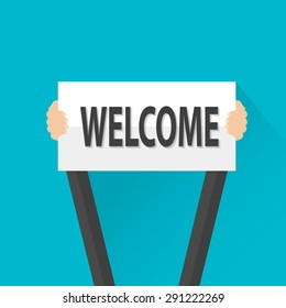 Businessman holding welcome sign, vector
