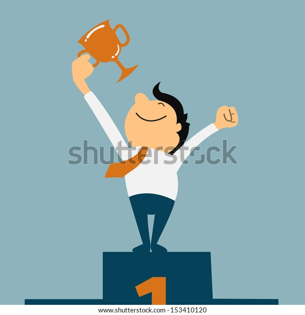 Businessman holding winning trophy. Victory concept.