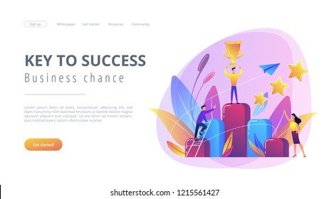Businessman holds a cup on top of column graph. Key to success and success story, business chance, on the way to success concept on white background. Website vibrant violet landing web page template.