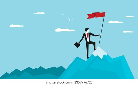 Businessman holds flag stand on top of mountain celebrating success. Vector illustration flat