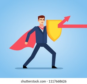 Businessman holds golden shield covering from red arrow. Insurance, protection from dangers concept. Flat style vector illustration