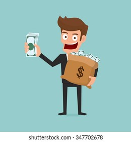 Businessman holds in hand money. Cartoon Vector Illustration.