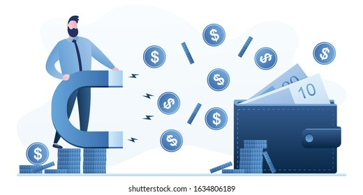 Businessman holds a magnet that pulls money from a wallet. Shopaholism, Consumerism and overspend. Business and finance concept. Collection of taxes or debts. Flat Vector illustration
