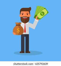 Businessman holds money
