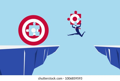 Businessman holds a part of the target jump through the gap obstacles between hill to fill big target and success. Running and jump over cliffs. Business risk and success concept.  Vector Illustration