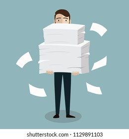 Businessman holds pile of office papers and documents. Documents and file Routine, bureaucracy, big data, paperwork, office. Vector illustration in flat style.