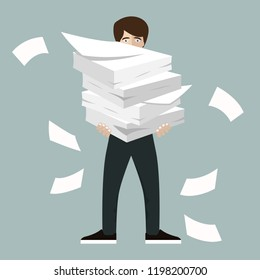 Businessman holds pile of office papers and documents. Documents and file. Routine, bureaucracy, big data, paperwork, office. Vector illustration in flat style