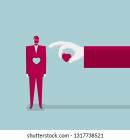 A businessman was hollowed out of the heart. Business concept design.