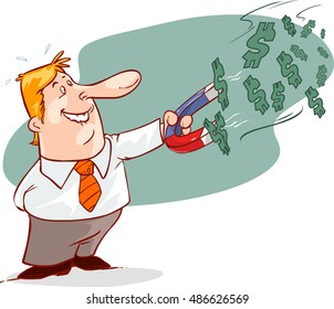 businessman with horseshoe magnet collecting money , eps10 vector format