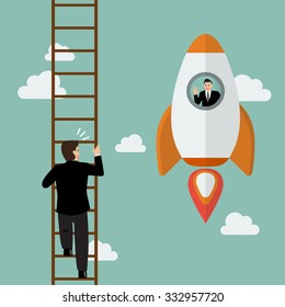 Businessman in hot air balloon fly pass businessman climbing the ladder. Business competition concept