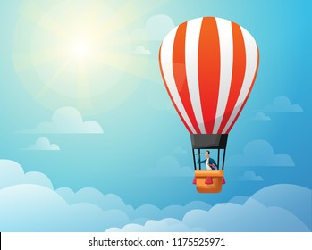 Businessman in hot air balloon search to success in bright day. Business concept.