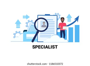 businessman hr using laptop searching resume specialist candidate vacancy job business concept flat horizontal african american male cartoon character vector Illustration