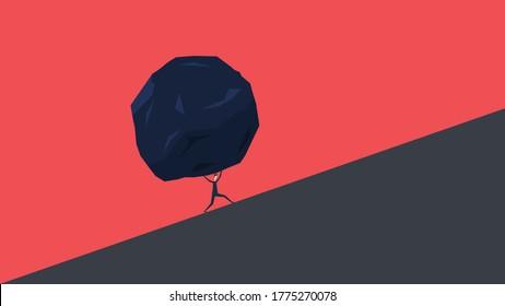 Businessman and huge stone . Business problem crisis hardship and burden concept