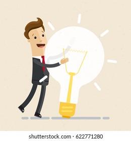 Businessman hugs a big lightbulb. Big good idea. Concept of business success.  Vector, illustration, flat