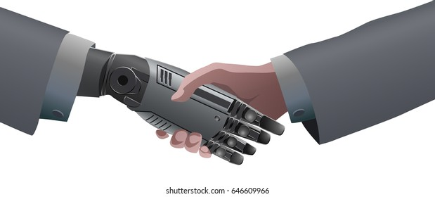 Businessman Human Hand and Robot Mechanical Hand Handshake. Artificial Intelligence Futuristic technology concept isolated vector. Transparent.