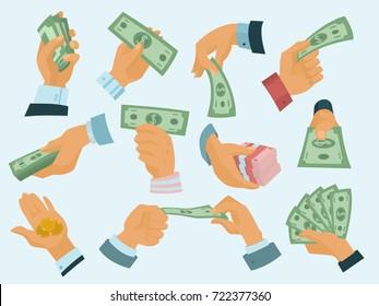 Businessman human hands hold paper money backs vector illustration