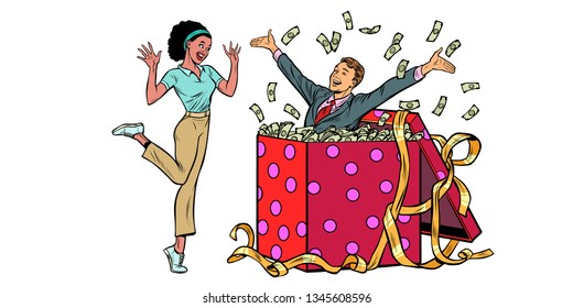 businessman husband lots of money holiday gift box. African woman funny reaction joy. isolate on white background Pop art retro vector illustration vintage kitsch 50s 60s