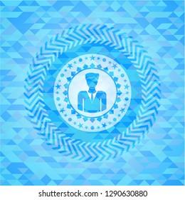businessman icon inside light blue emblem with mosaic ecological style background