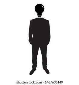 Businessman icon. man silhouette. Businessman with bulb instead of the head