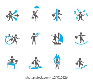 Businessman icon in various activities