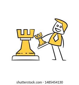 businessman icon yellow stick figure