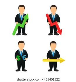 Businessman icons with a course schedule and money scheme