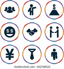 Businessman icons set. set of 9 businessman filled icons such as tie, businessman, dollar smiley, group, handshake, dollar, shaking hands, man with case