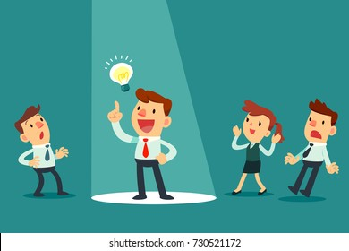 Businessman with idea bulb in spotlight. Stand out from others. Business idea concept.