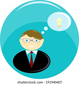 Businessman with an idea. Man in suit with tie and glasses. Business icon. Vector illustration. Abstract pattern
